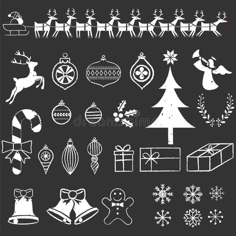 Éléments de Noël de tableau illustration de vecteur