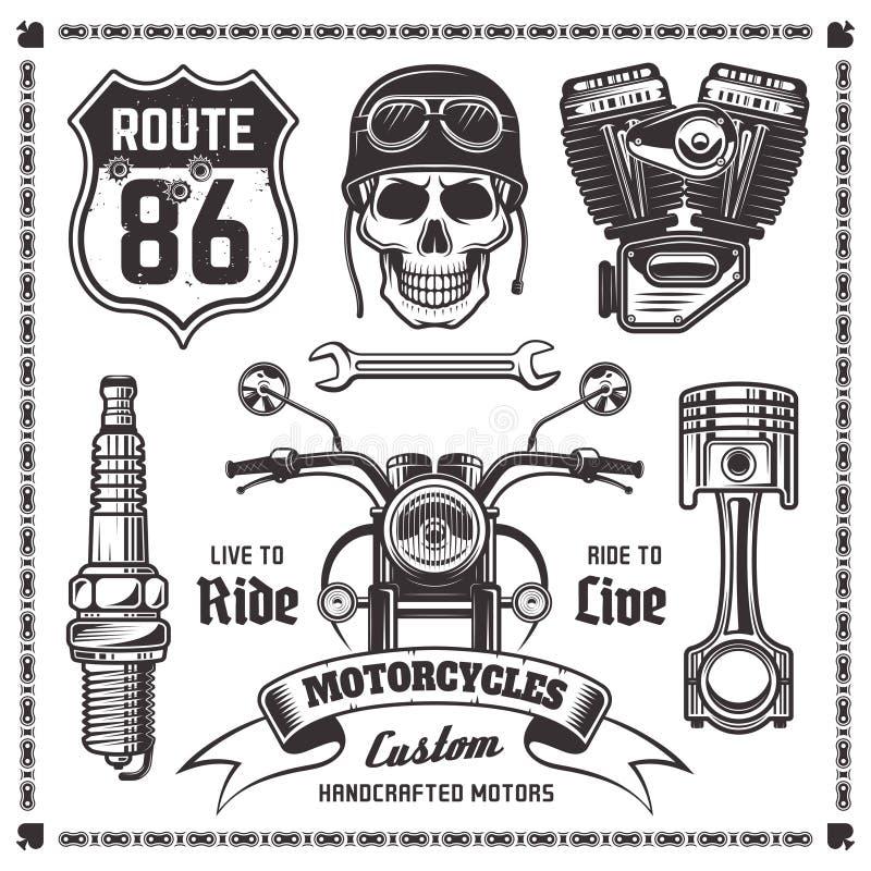 Éléments de noir de vecteur de motos et de motards illustration stock