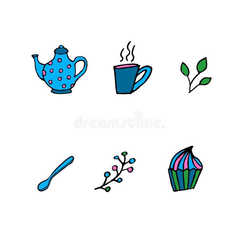 Éléments de nourriture de thé photos libres de droits