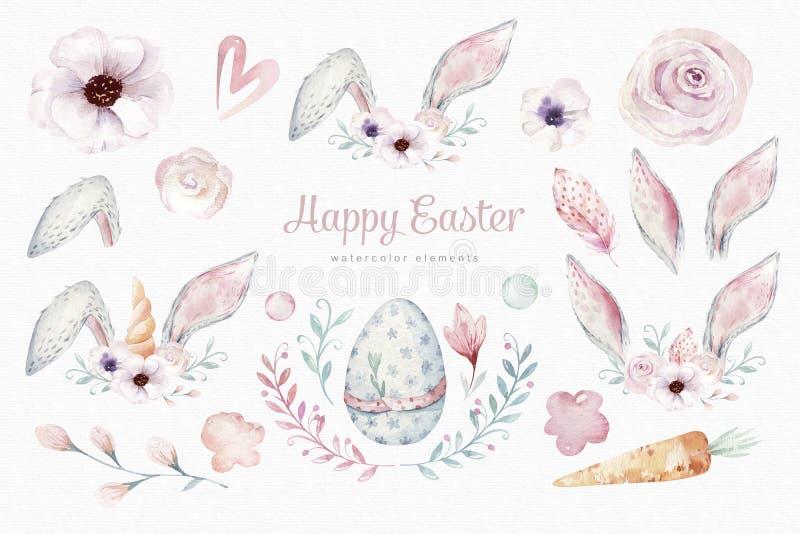 Éléments de Pâques d'aquarelle, fleur de ressort, branche, oeufs de pâques, oeufs colorés, lapin et oreilles de bannies Lapin illustration de vecteur