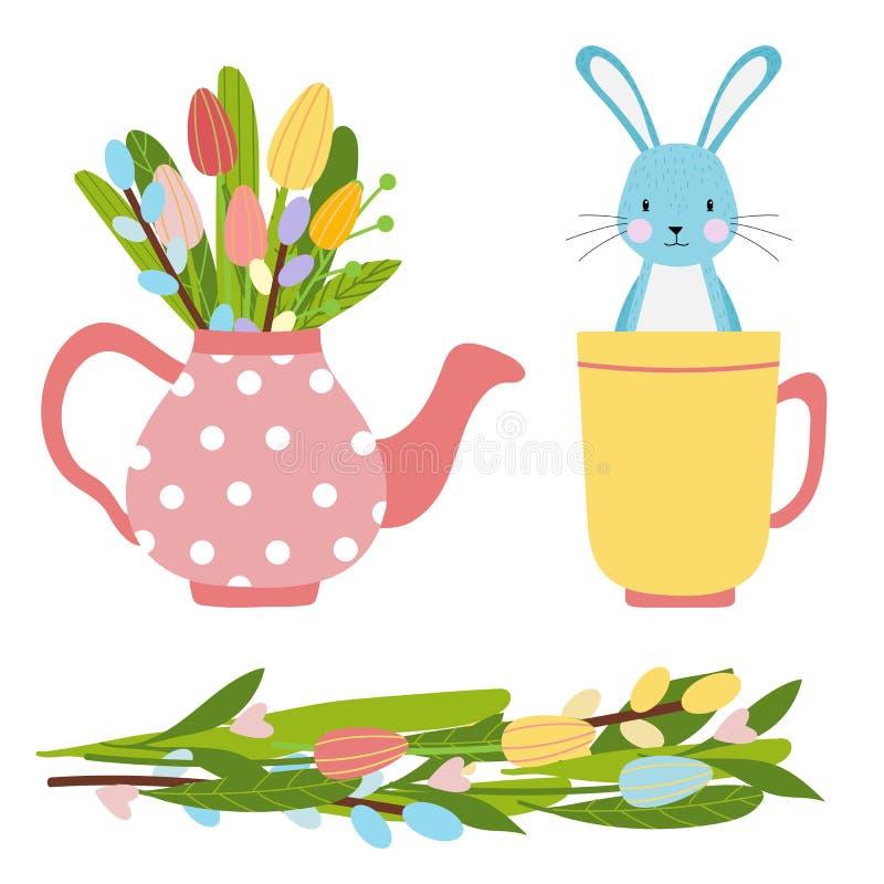 Éléments de Pâques pour le printemps fait de bouquet de fleurs et pot de thé rose avec les tulipes et le saule illustration de vecteur