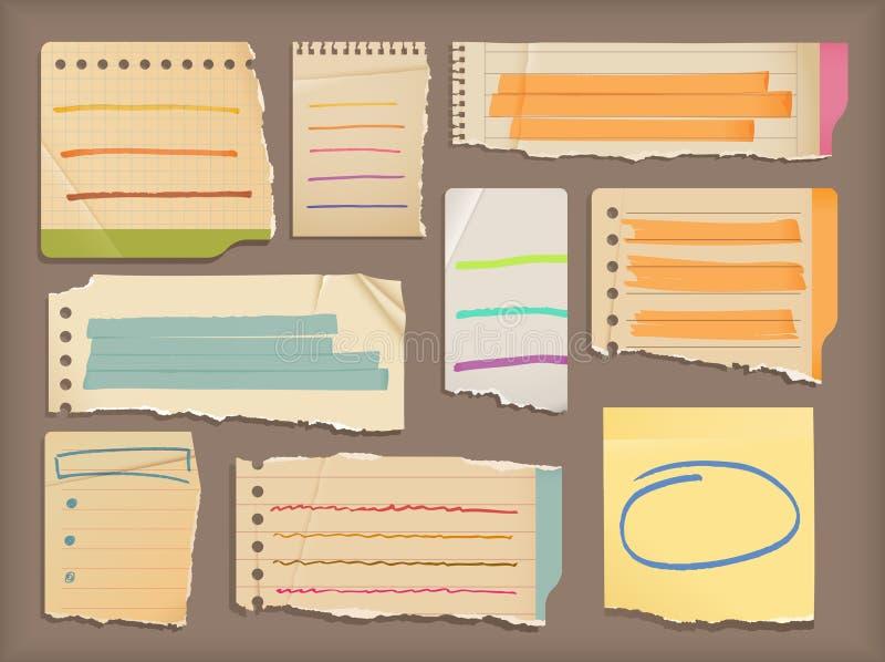 Éléments de papier et de point culminant de cahier illustration libre de droits