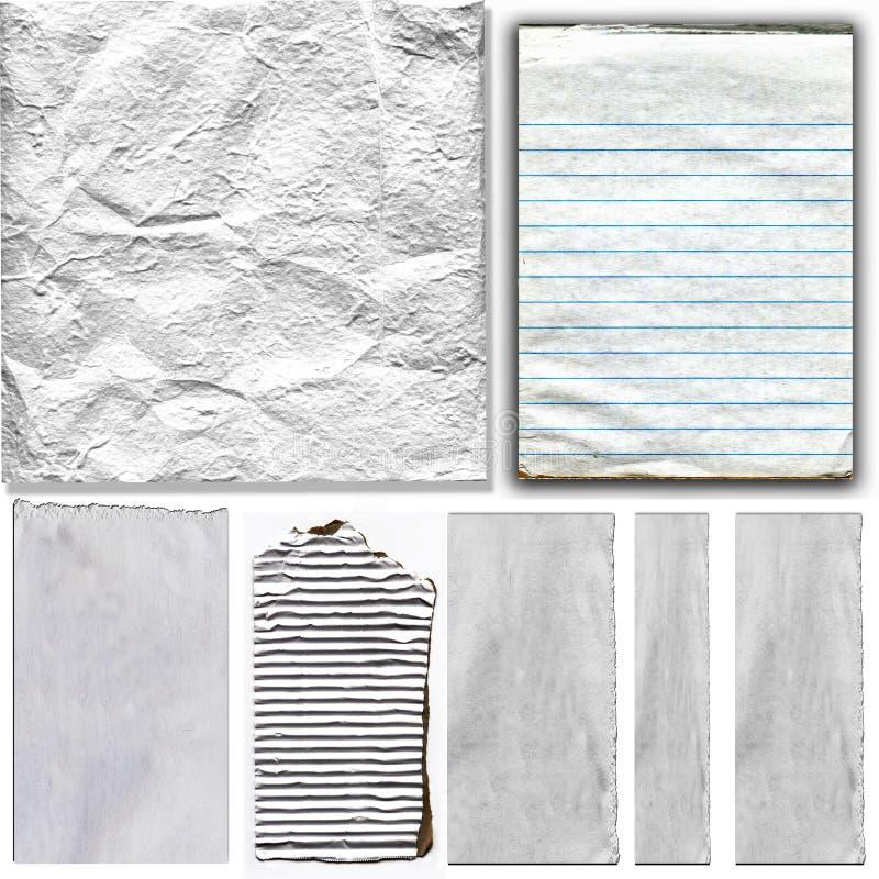 Éléments de papier réels blancs réglés illustration stock