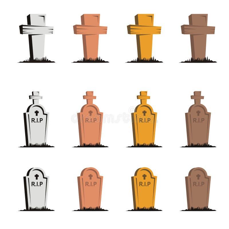 Éléments de pierres tombales avec la couleur multiple illustration libre de droits