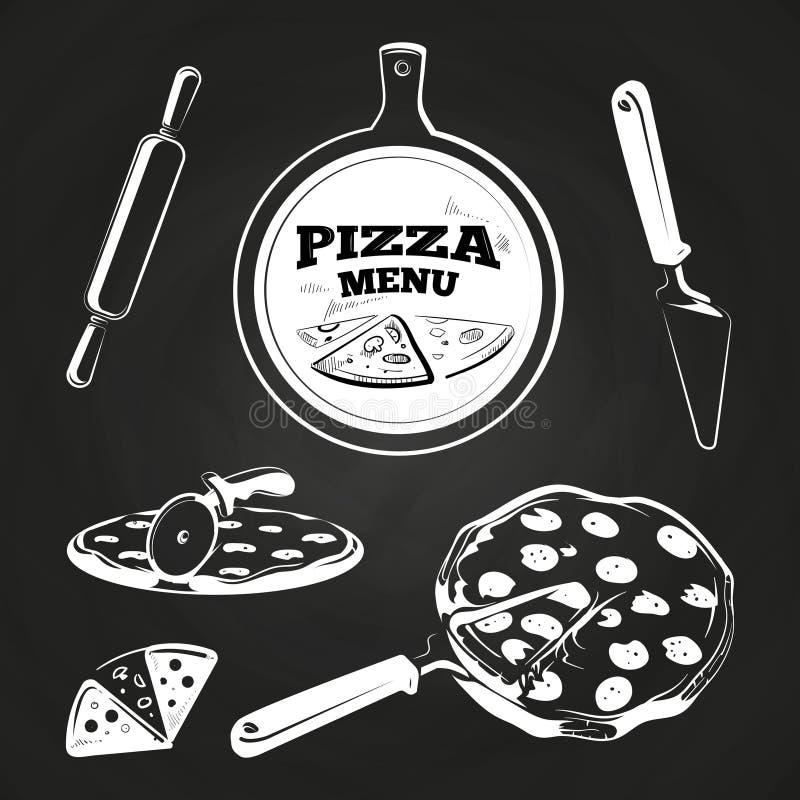 Éléments de pizza de vintage sur le tableau illustration libre de droits