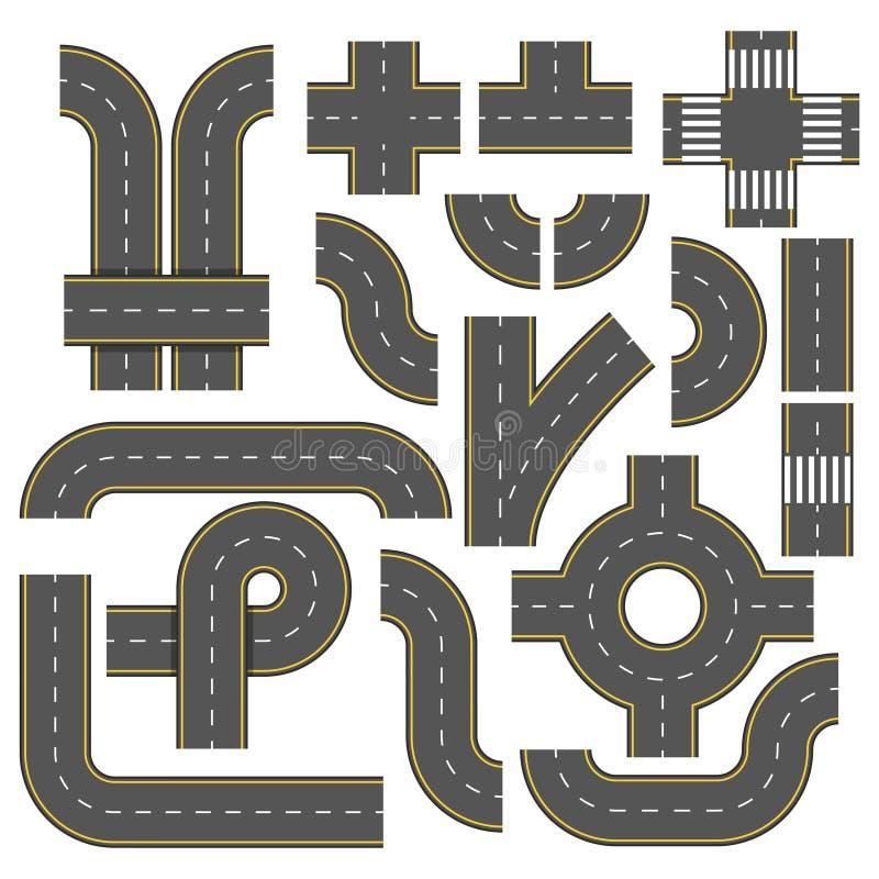 Éléments de route Collection d'éléments raccordables de route Éléments de vecteur de vue supérieure Une partie de route de route, illustration de vecteur