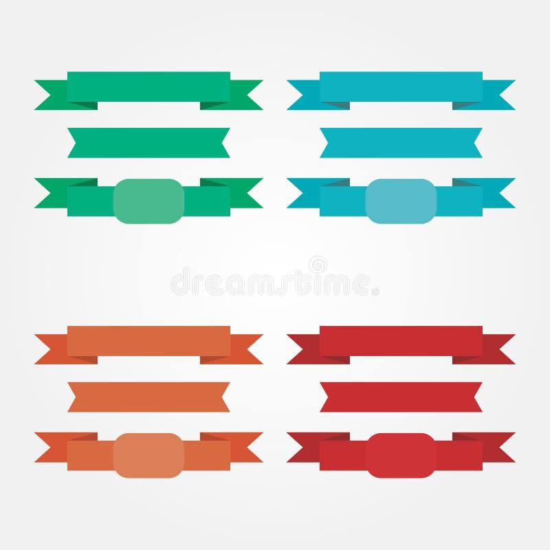 Éléments de ruban colorés par vecteur courant pour le Web illustration stock