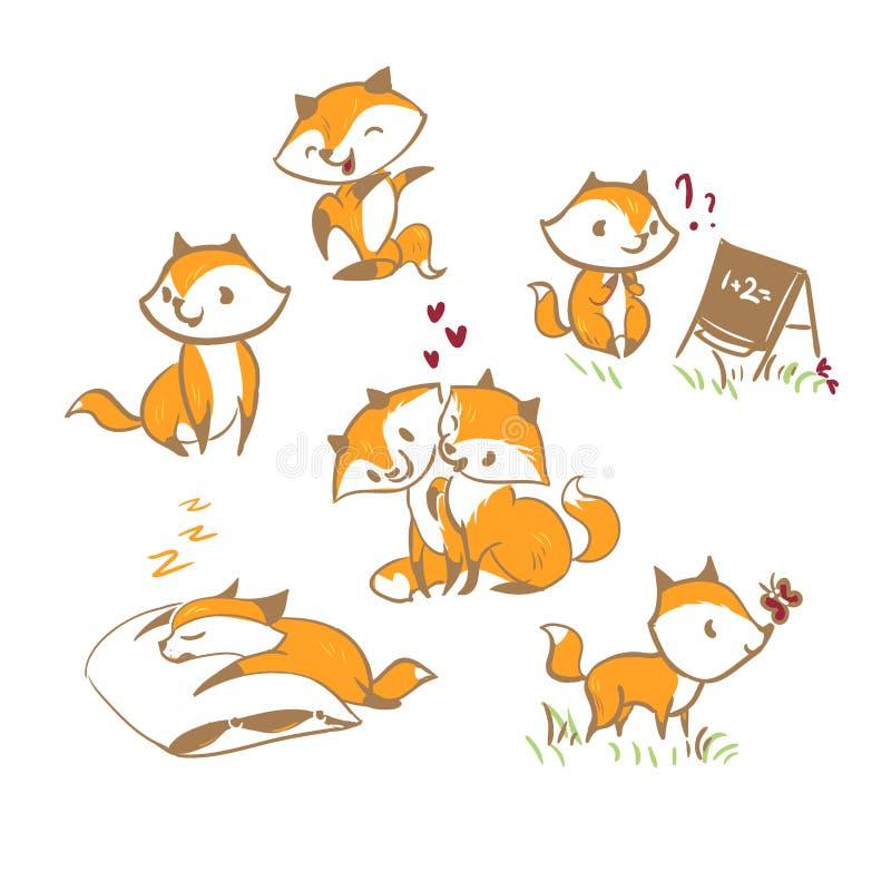 Éléments de scénographie de bébé de renard de caractère de vecteur illustration stock