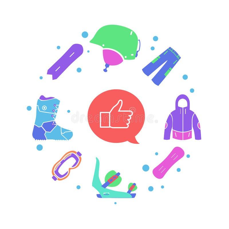 Éléments de sport d'hiver créatif de snowboarding et outils infographic et plats de casque, de masque, de veste, de botte, de pan illustration de vecteur