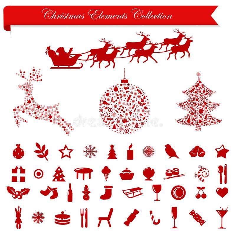 Éléments de vacances de Noël. Vecteur illustration stock