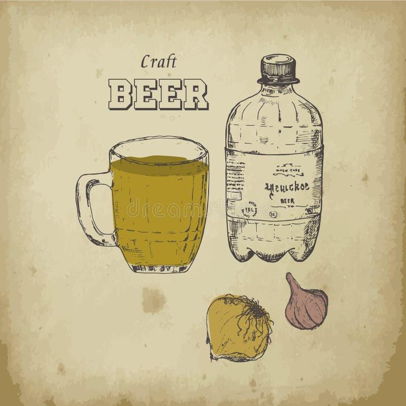 Éléments de vecteur de croquis de bière Articles, bouteille à bière et tasse tirés par la main de dessin, houblon amer, ingrédien illustration libre de droits