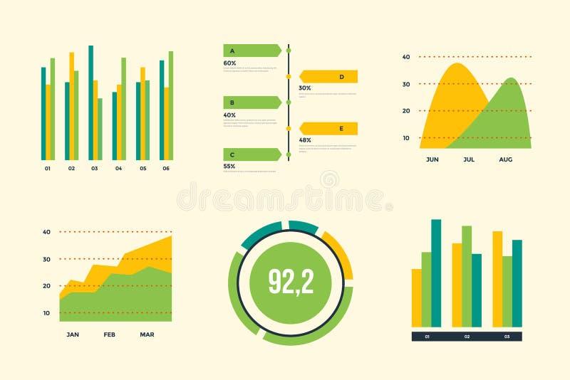 Éléments de vecteur d'Infographic Ensemble de diagrammes financiers et de vente illustration libre de droits