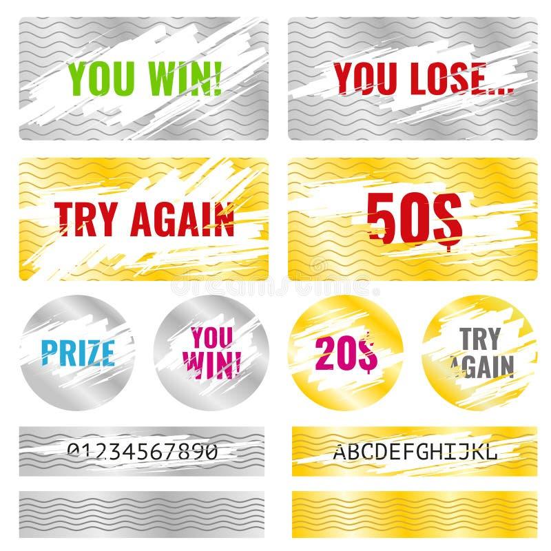 Éléments de vecteur de loterie de victoire de jeu de carte d'éraflure illustration libre de droits