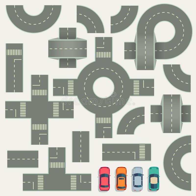 Éléments de vecteur de vue supérieure de carte de construction de routes de route illustration stock