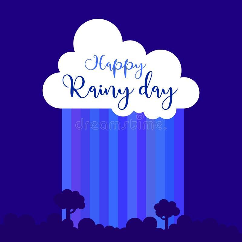 Éléments de vecteur pour la carte de voeux, invitation, affiche, conception de T-shirt nuage, pluie, chute, lettrage, ciel bleu A illustration de vecteur