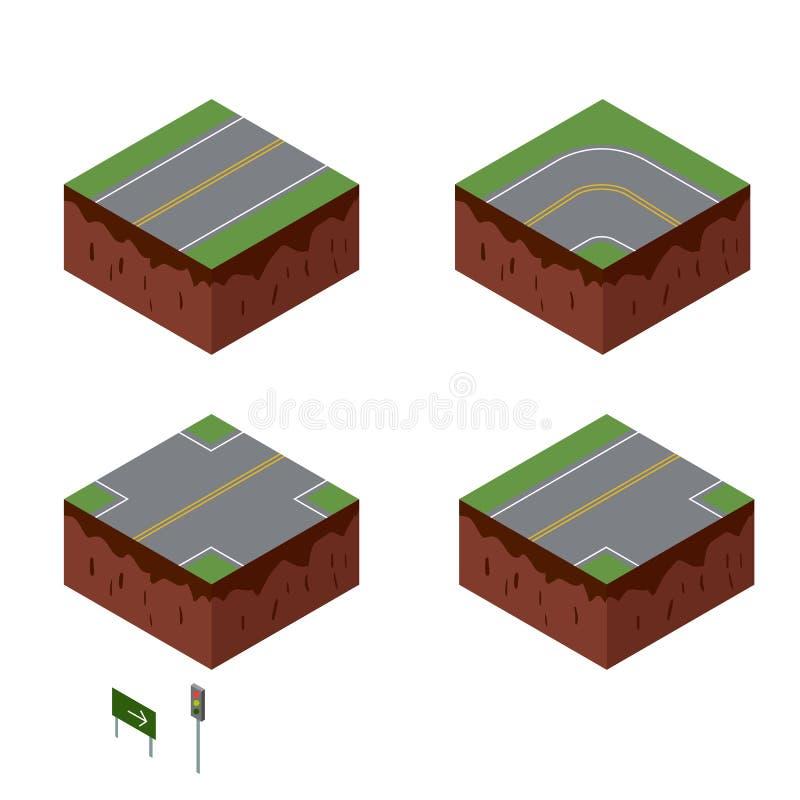 Éléments de ville Route avec le signe Vecteur isométrique de perspective illustration libre de droits