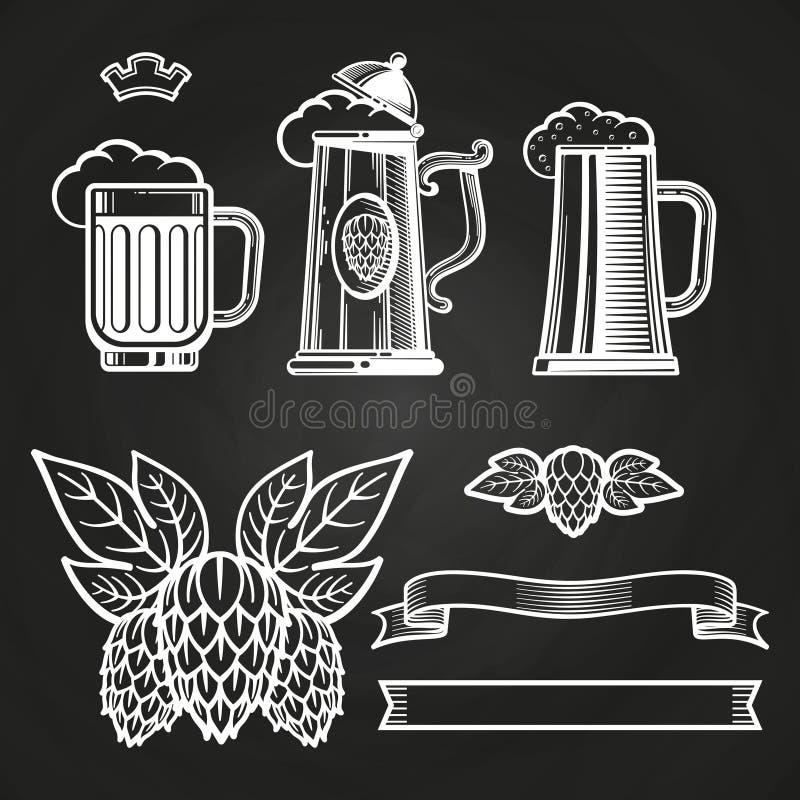 Éléments de vintage pour des labels - le verre du ruban de bière saute à cloche-pied sur le tableau illustration de vecteur