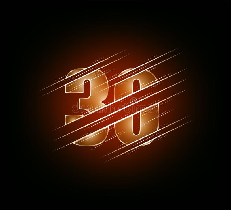 Éléments de vitesse rapide du caractère trente en verre de luxe du numéro 30 fond foncé orange de ton Illustration EPS10 de vecte illustration libre de droits