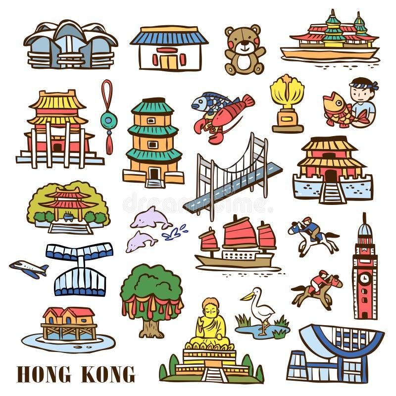 Éléments de voyage de Hong Kong illustration stock