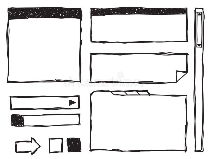 Éléments de Web de griffonnage illustration stock