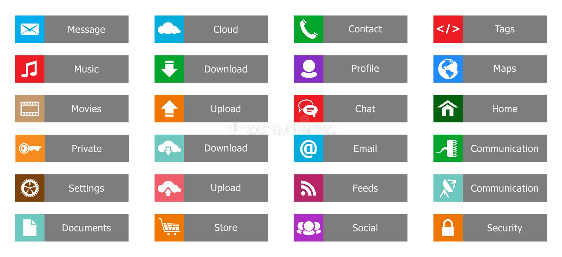 Éléments de web design, boutons, icônes. Calibres pour le site Web illustration stock