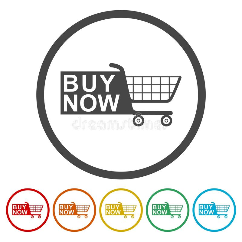 Éléments de Web pour le commerce électronique, icône de caddie illustration libre de droits