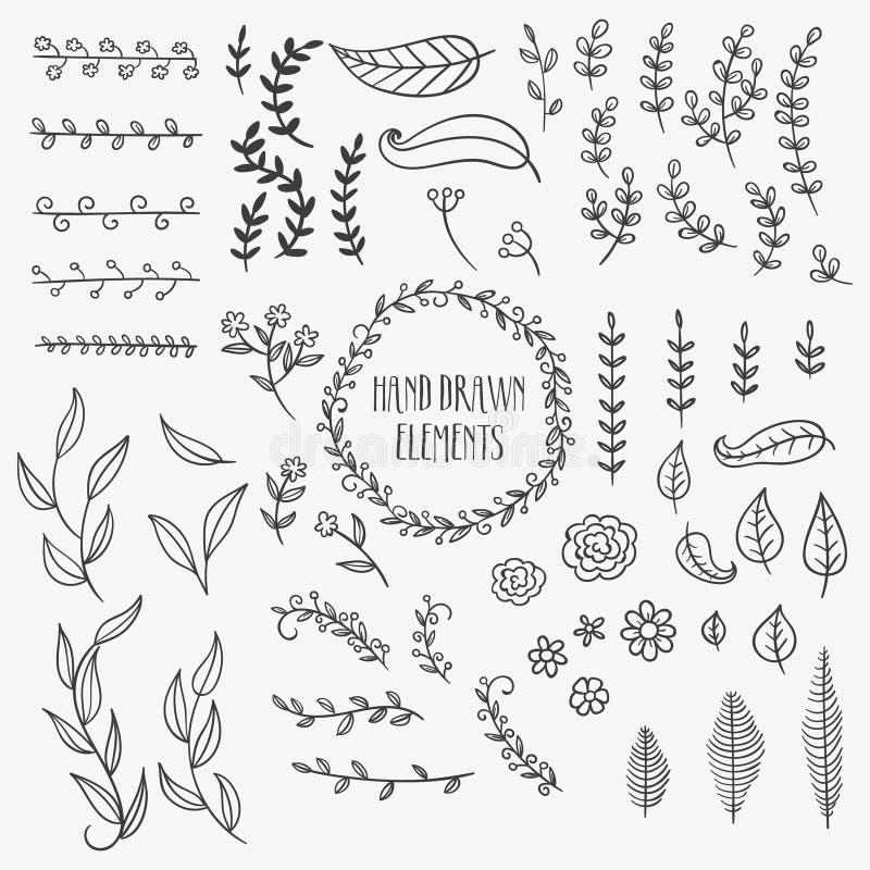 Éléments drawnnatural de décoration de main image libre de droits