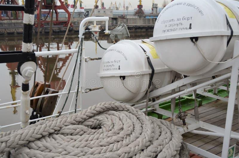 Éléments du gouvernail de direction d'évacuation du ` s de bateau photos stock