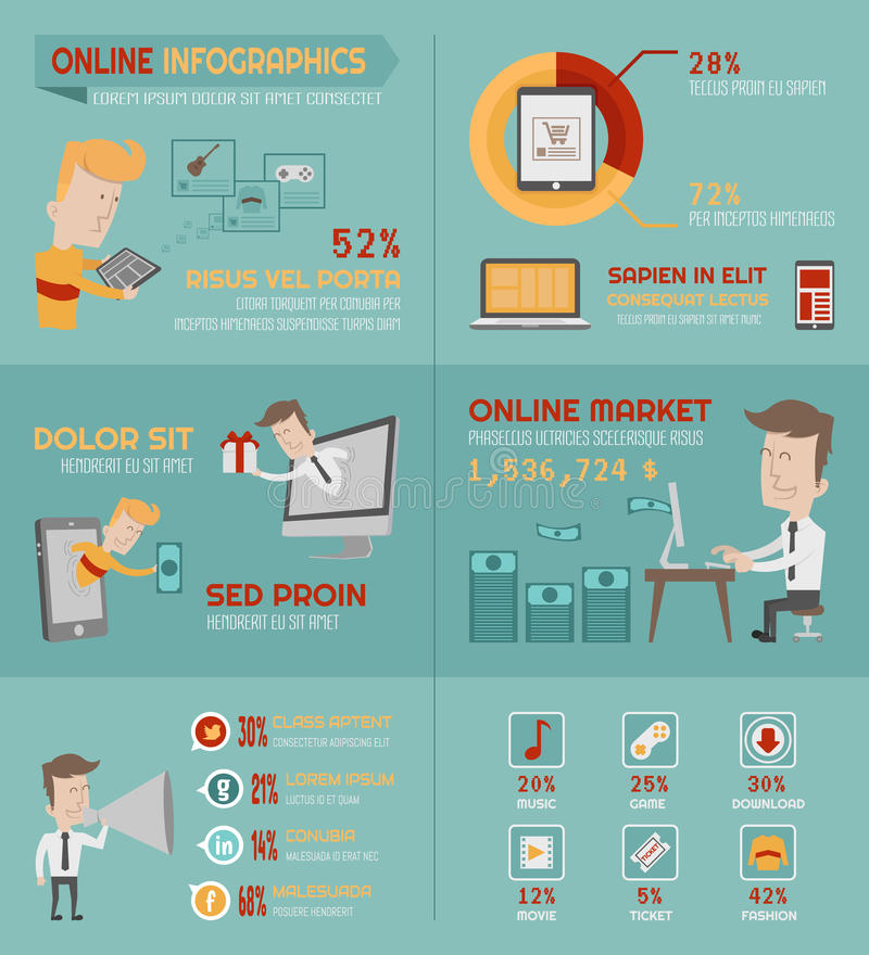 Éléments en ligne d'infographics d'achats illustration libre de droits