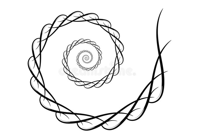 ?l?ments en spirale de conception de vecteur Lignes de r?sum? noires et blanches Fond de remous illustration de vecteur