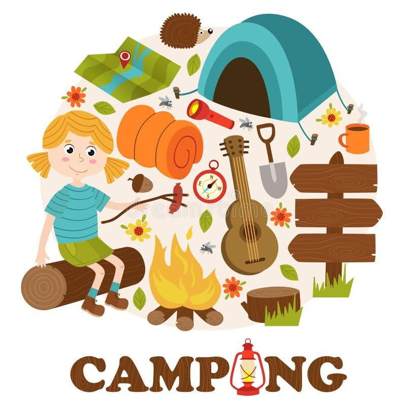 Éléments et fille de camping illustration de vecteur