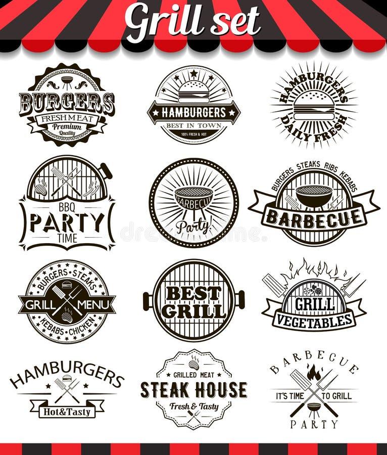 Éléments et insignes de conception de vintage de gril réglés illustration libre de droits