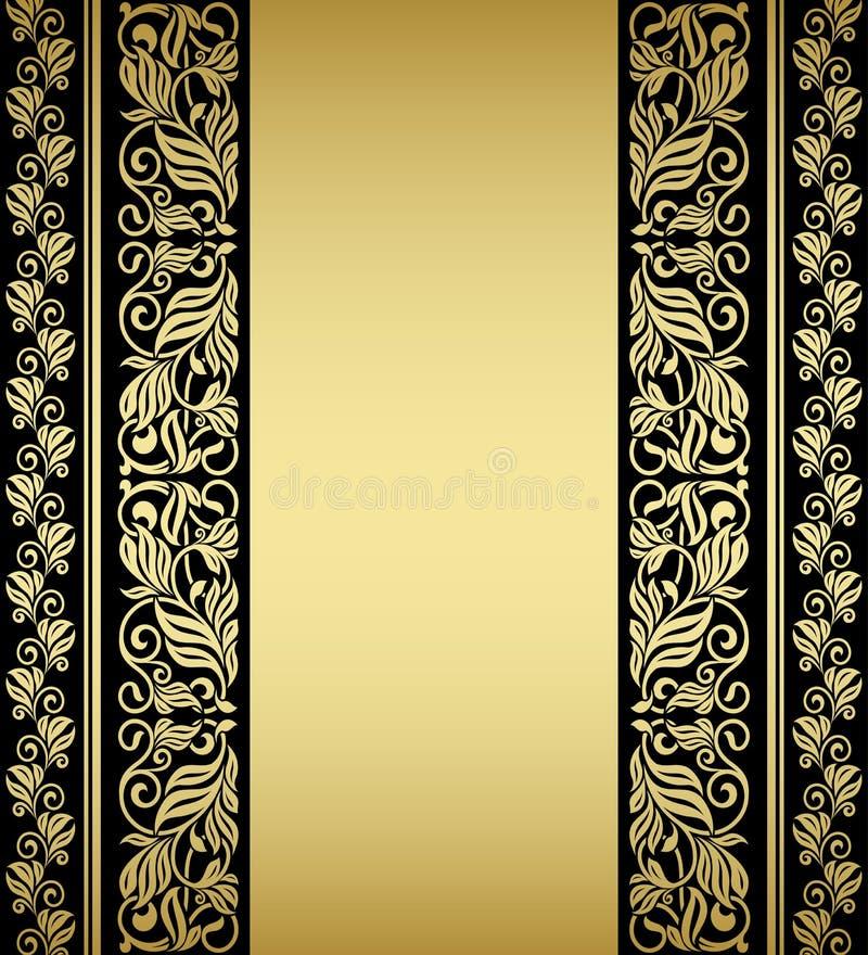 Éléments et modèles floraux dorés illustration de vecteur