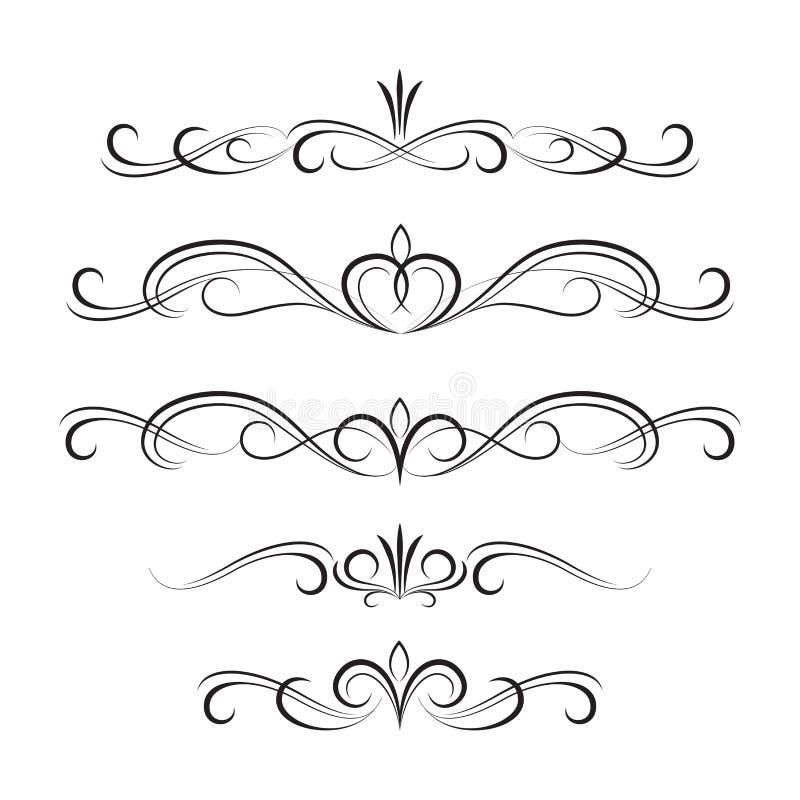 Éléments et ornements bouclés décoratifs noirs illustration de vecteur