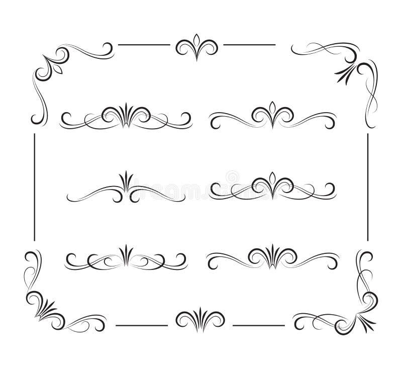 Éléments et ornements bouclés décoratifs noirs illustration libre de droits