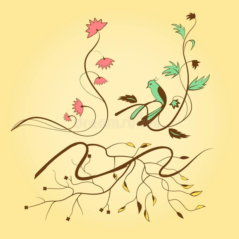 Éléments fleuris illustration de vecteur