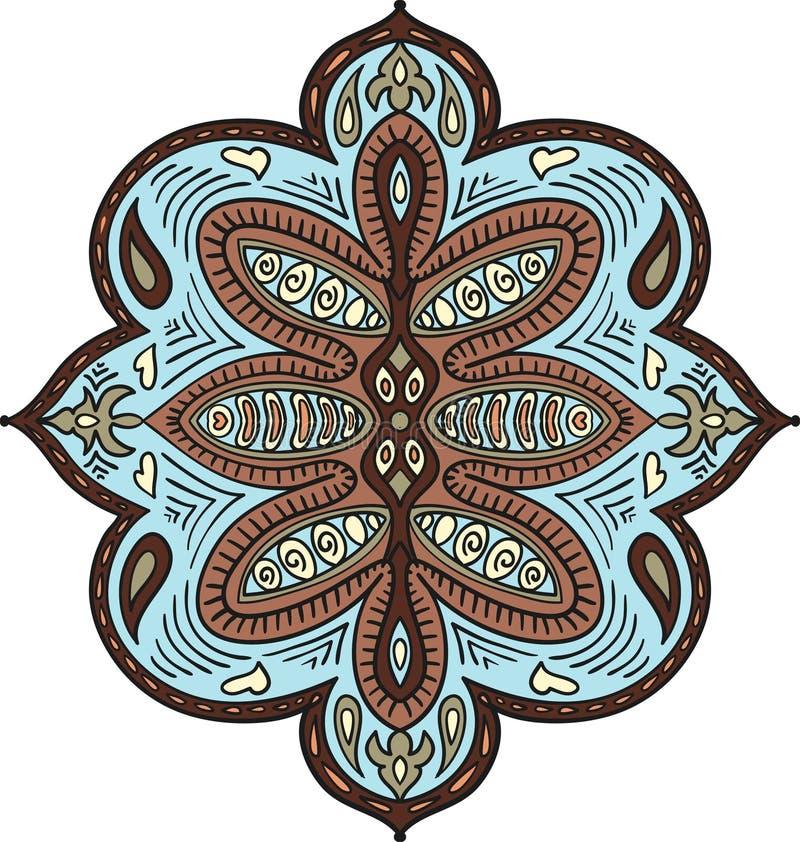 Éléments fleuris abstraits Modèle décoratif pour le tissu, textile, affiche, cartes, couvertures, Web Ornement coloré Indien Pais illustration libre de droits
