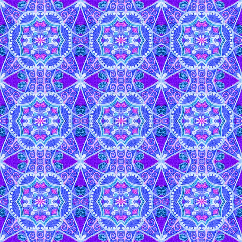 Éléments floraux bleus, blancs, pourpres dans un modèle géométrique image stock