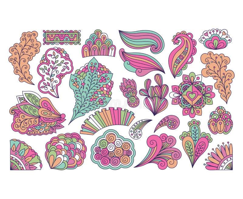 Éléments floraux colorés mignons de style de griffonnage illustration libre de droits