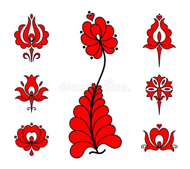 Éléments floraux de broderie hongroise traditionnelle illustration de vecteur