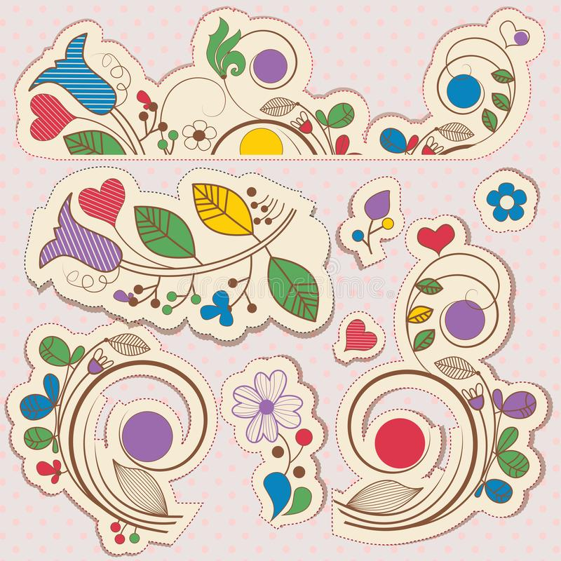 Éléments floraux de conception d'album illustration stock