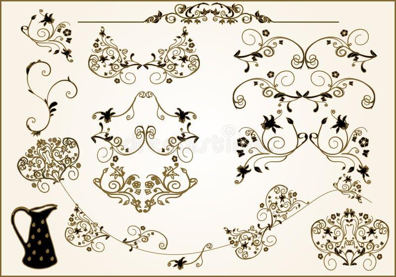 Éléments floraux de trame illustration stock