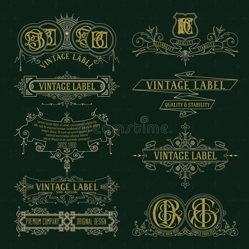 Éléments floraux de vieux vintage - rubans, monogrammes, rayures, lignes, angles, frontière, cadre, label, logo illustration libre de droits