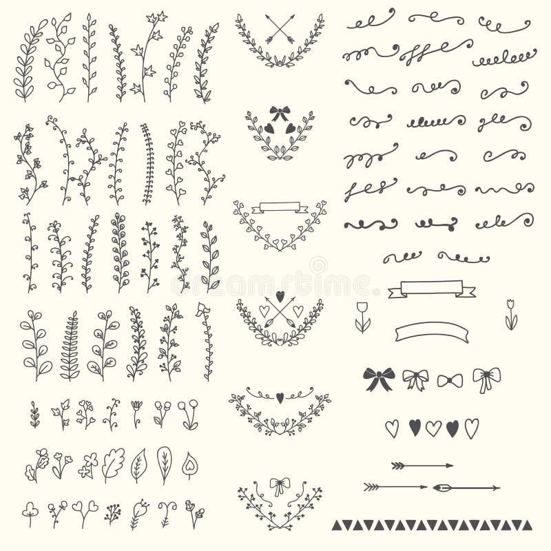 Éléments floraux de vintage tiré par la main Conception e de vecteur de Handsketched illustration libre de droits