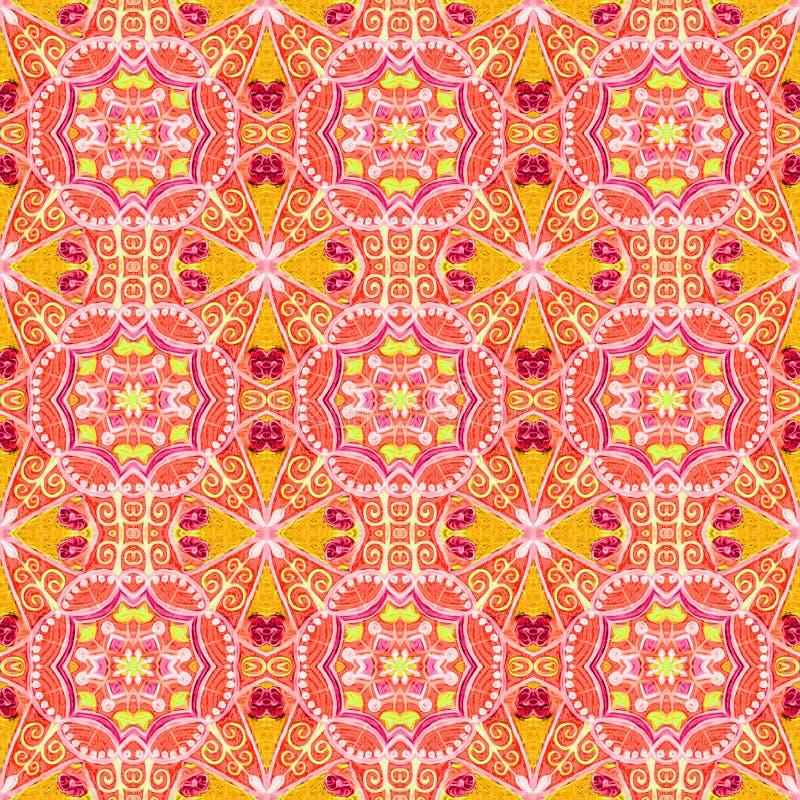 Éléments floraux rouges et oranges dans un modèle géométrique image libre de droits
