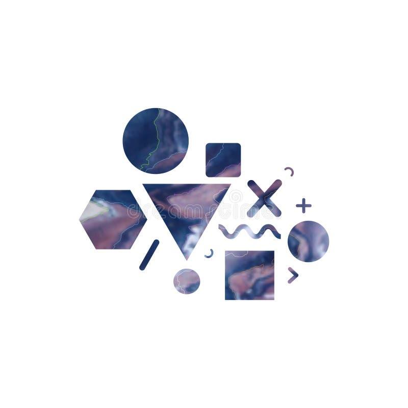 Éléments géométriques à la mode avec la texture de marbre Affiche de hippie, fond minimal de conception Illustration de vecteur illustration de vecteur