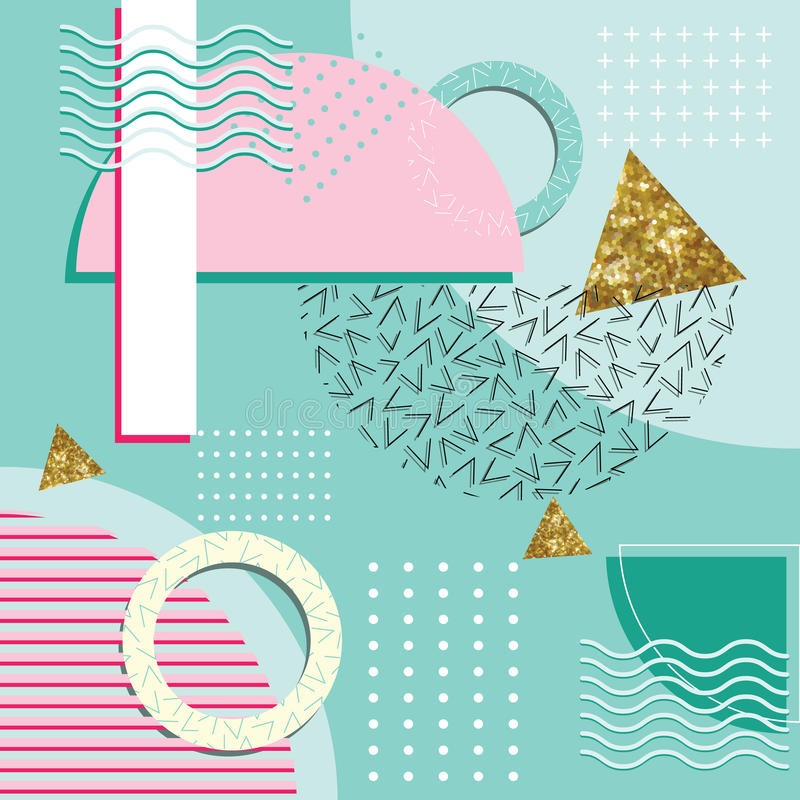 Éléments géométriques de Memphis Style Abstract Background With illustration de vecteur