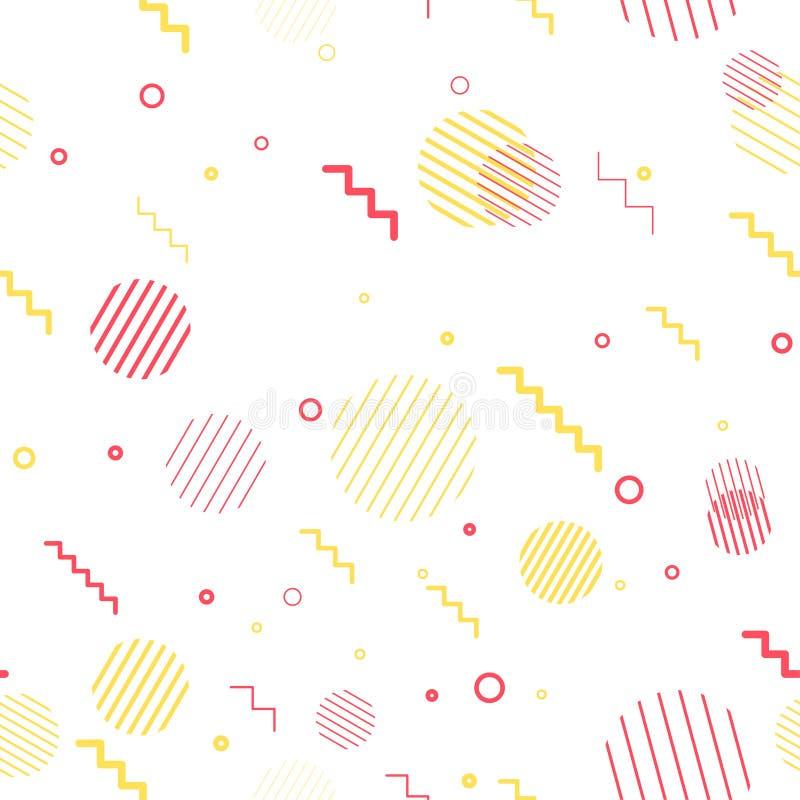 Éléments géométriques minimalistic jaunes et rouges lumineux sans couture illustration libre de droits