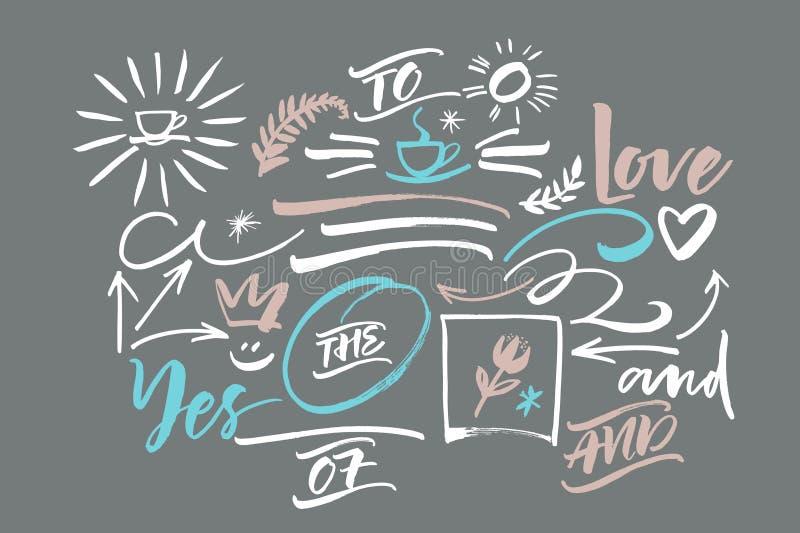 Éléments graphiques supplémentaires pour Sunny Script Lettrage de craie illustration stock