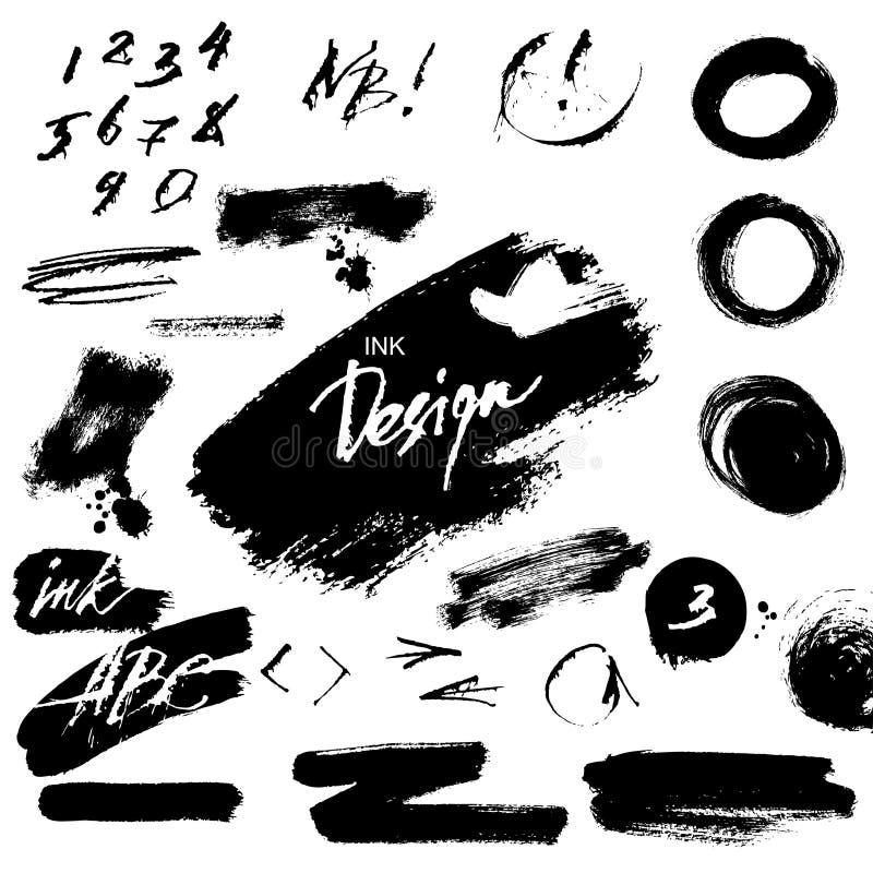 Éléments grunges de conception d'encre illustration de vecteur